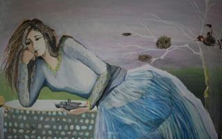 Vrouw met dode zwartkopje